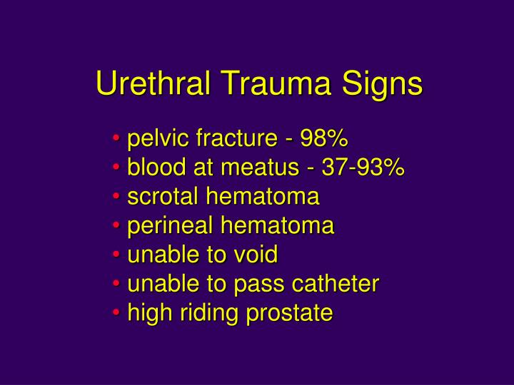 Urethral Trauma Signs