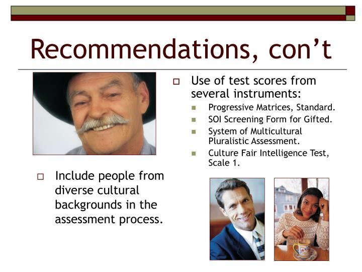 Use of test scores from several instruments: