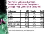 far fewer latino and african american graduates complete a college prep curriculum 2003 04