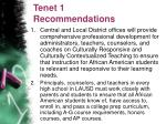 tenet 1 recommendations