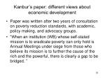 kanbur s paper different views about economic development