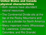 united states and canada physical characteristics