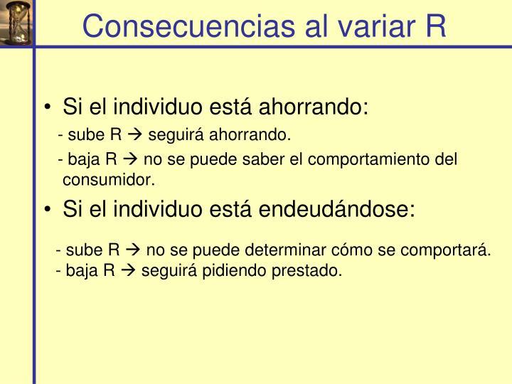 Consecuencias al variar R