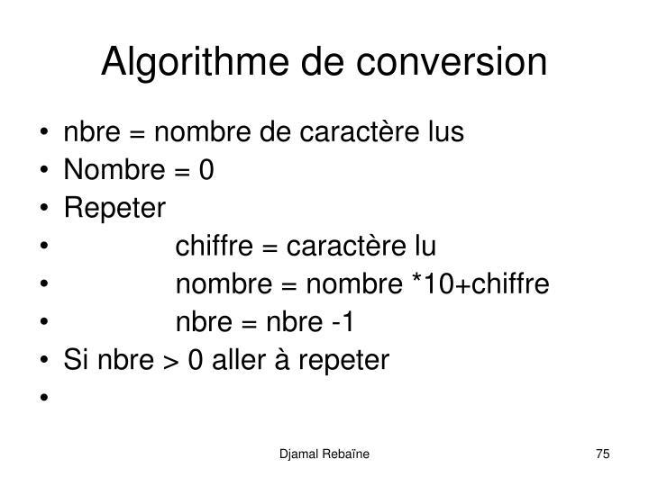 Algorithme de conversion
