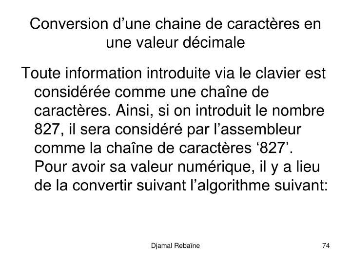 Conversion d'une chaine de caractères en une valeur décimale