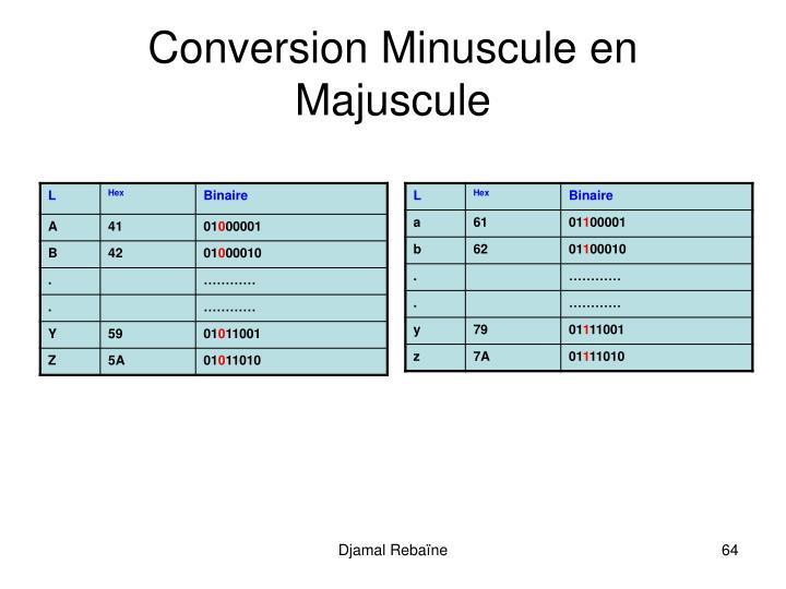 Conversion Minuscule en Majuscule