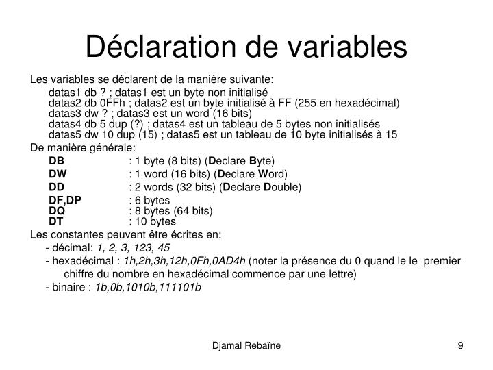 Déclaration de variables