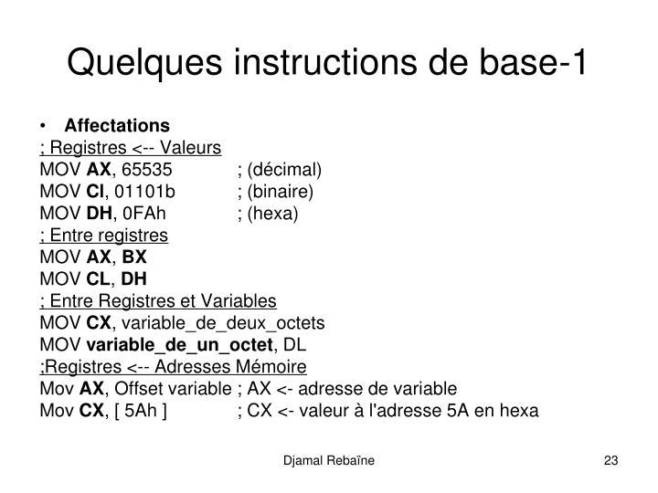 Quelques instructions de base-1