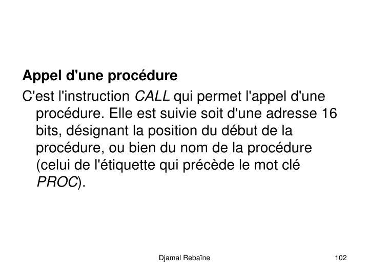 Appel d'une procédure