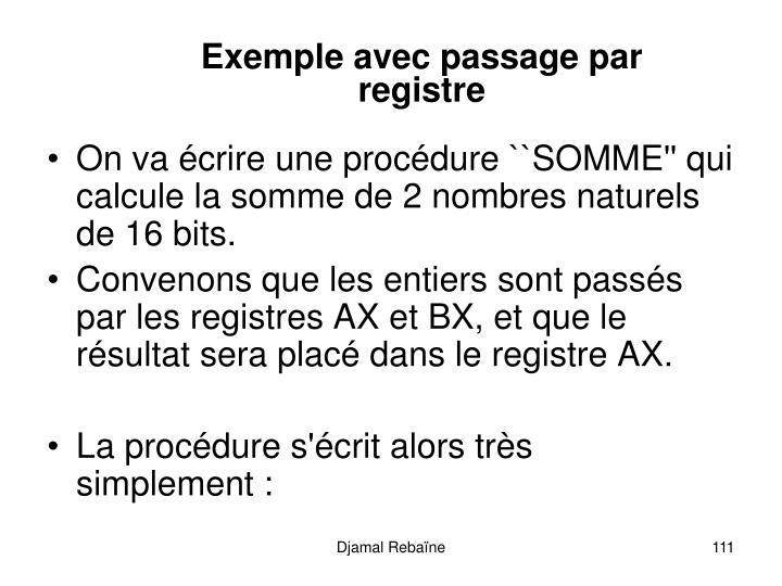 Exemple avec passage par registre
