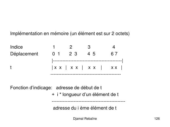 Implémentation en mémoire (un élément est sur 2 octets)
