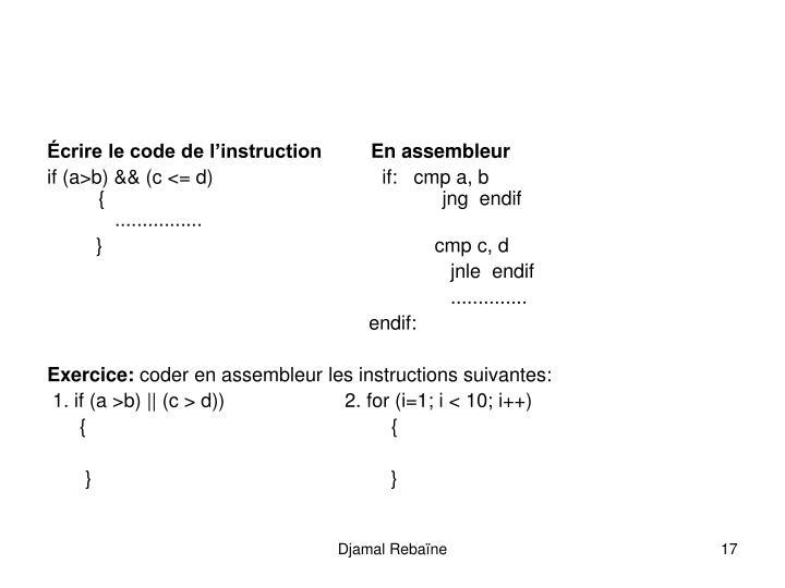 Écrire le code de l'instruction