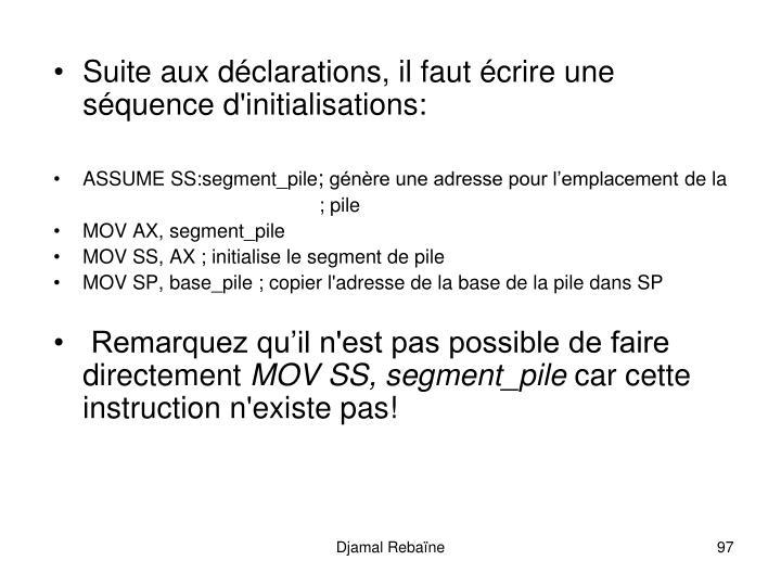Suite aux déclarations, il faut écrire une séquence d'initialisations: