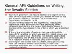 general apa guidelines on writing the results section