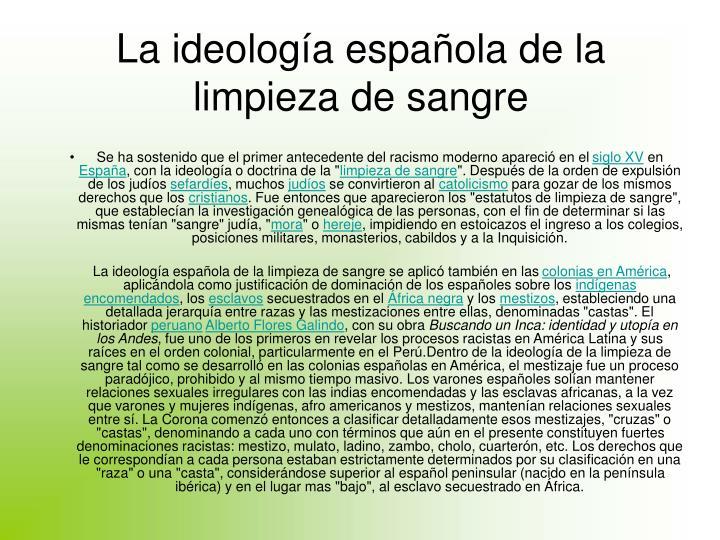La ideología española de la limpieza de sangre