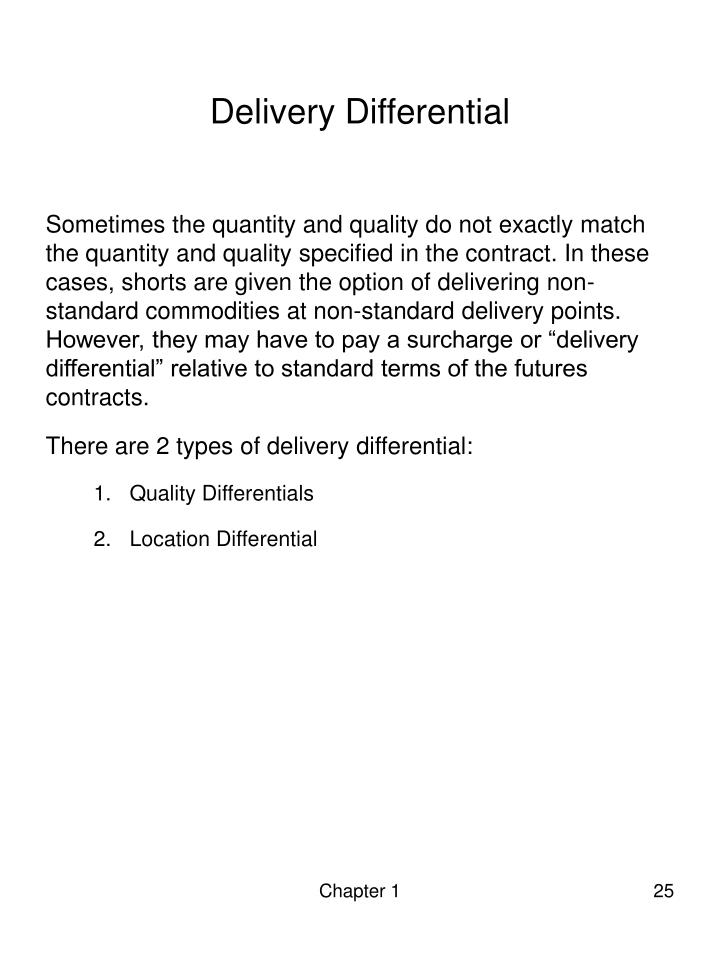 Delivery Differential