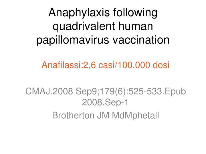 Anaphylaxis following quadrivalent human papillomavirus vaccination