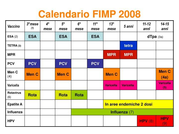 Calendario FIMP 2008