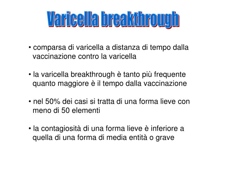 Varicella breakthrough