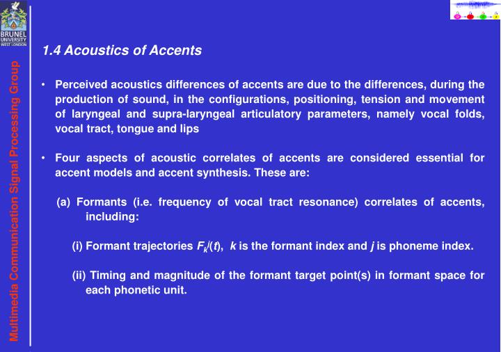 1.4 Acoustics of Accents