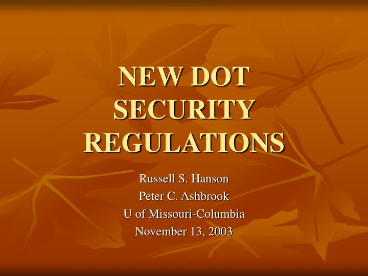 new dot security regulations n.