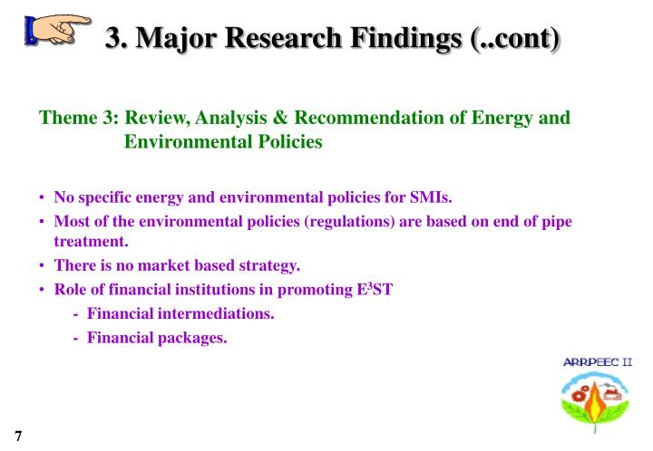 3. Major Research Findings (..cont)