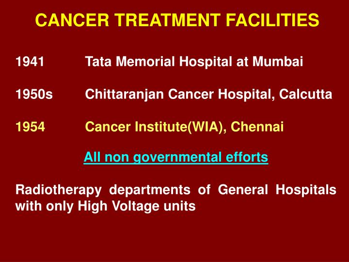 CANCER TREATMENT FACILITIES