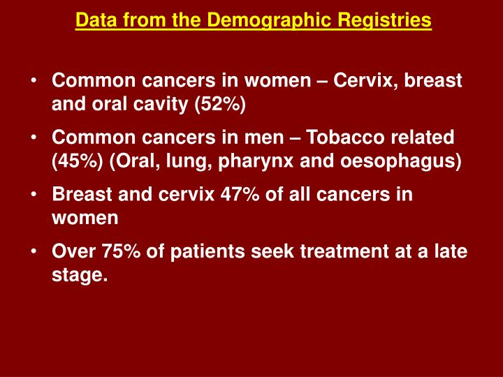 Data from the Demographic Registries