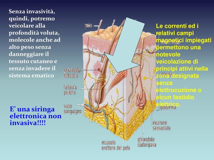 Senza invasività, quindi, potremo veicolare alla profondità voluta, molecole anche ad alto peso se...