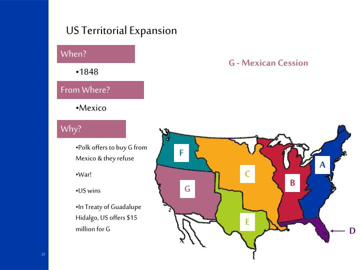 the issue of territorial expansion sparked considerable debate Territorial conflict and slavery the conquering of mexico creates many issues in the us the united states will conquer mexico, but it will be as the man swallows the arsenic this will reopen the issue of slavery, creating a political battleground between the north and the south wilmot proviso.