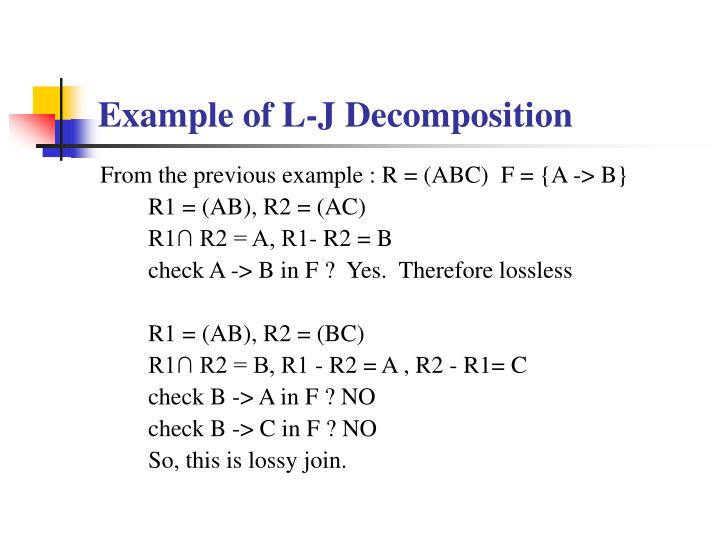 Example of L-J Decomposition