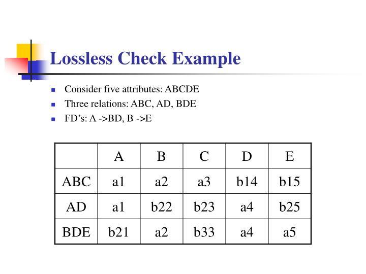 Lossless Check Example