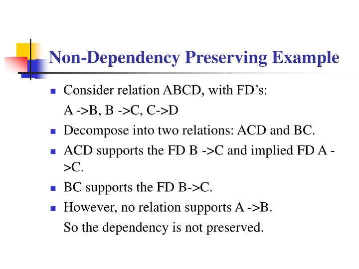 Non-Dependency Preserving Example
