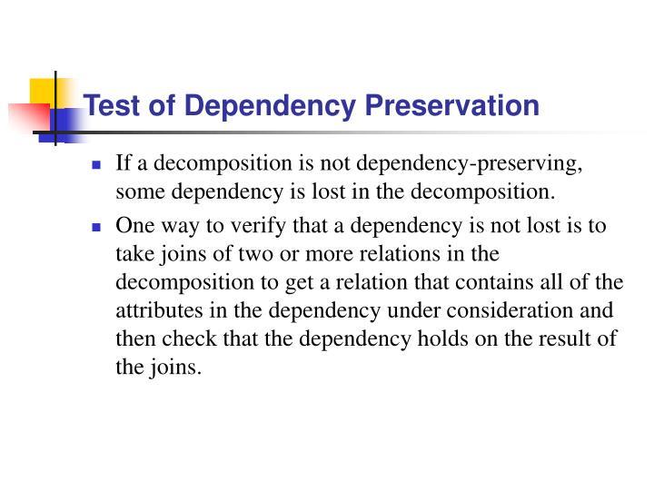 Test of Dependency Preservation