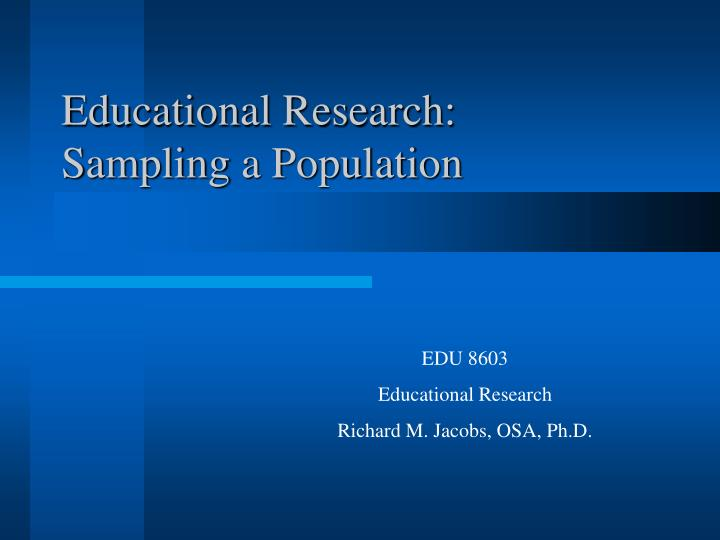 educational research sampling a population