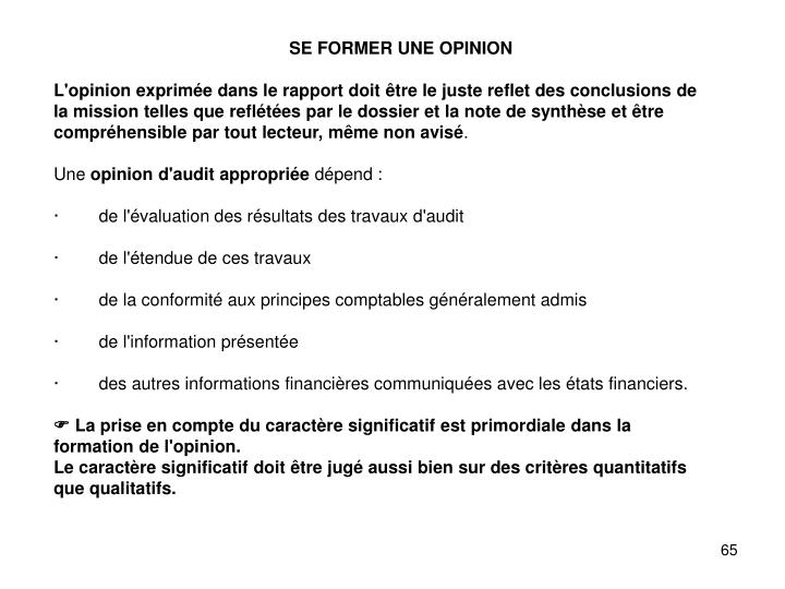 SE FORMER UNE OPINION