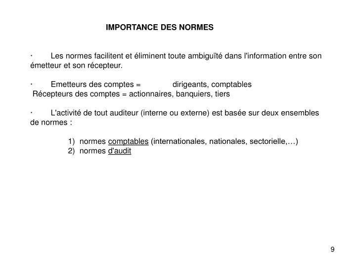 IMPORTANCE DES NORMES
