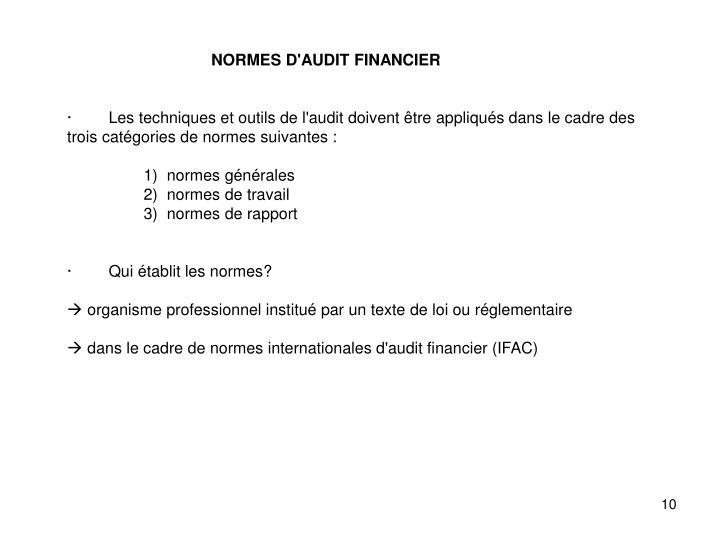 NORMES D'AUDIT FINANCIER