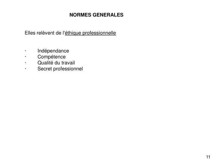 NORMES GENERALES
