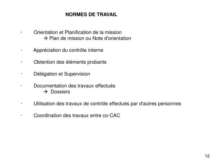 NORMES DE TRAVAIL