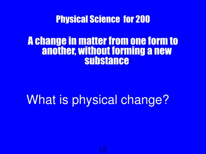 Physical Science  for 200