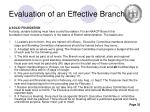 evaluation of an effective branch