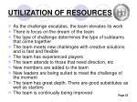 utilization of resources
