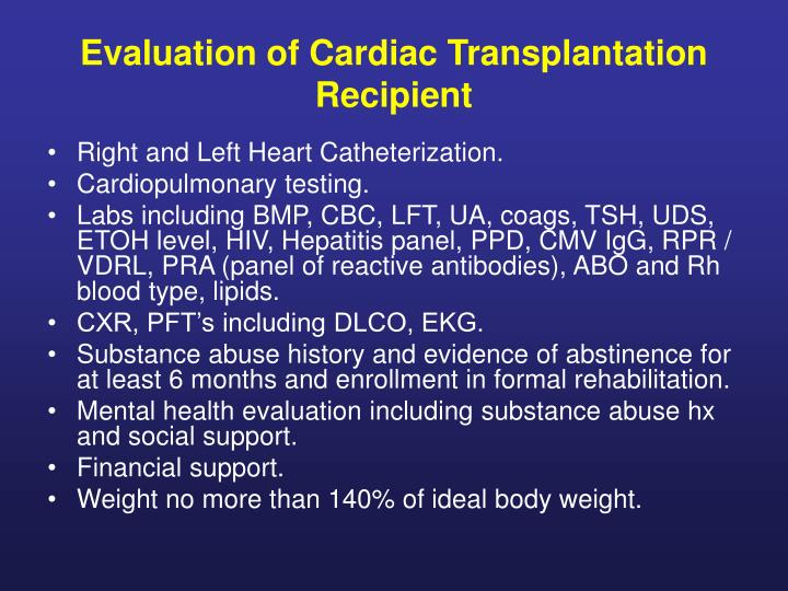 Evaluation of Cardiac Transplantation Recipient