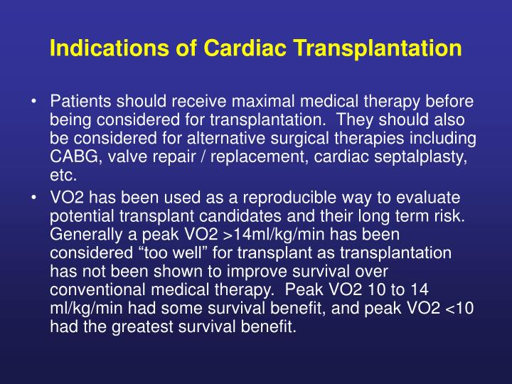 Indications of Cardiac Transplantation