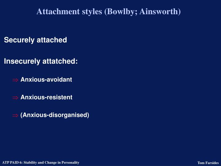Attachment styles (Bowlby; Ainsworth)
