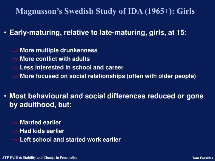 Magnusson's Swedish Study of IDA (1965+): Girls