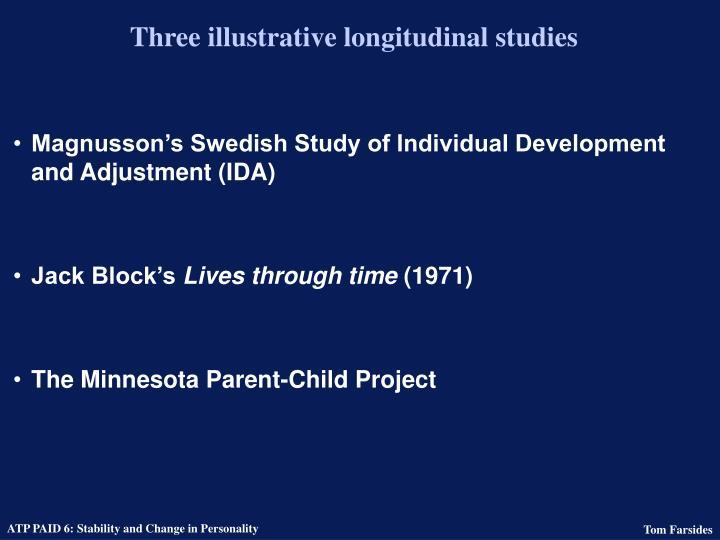 Three illustrative longitudinal studies