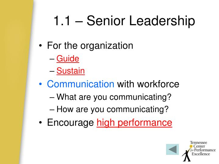 1.1 – Senior Leadership