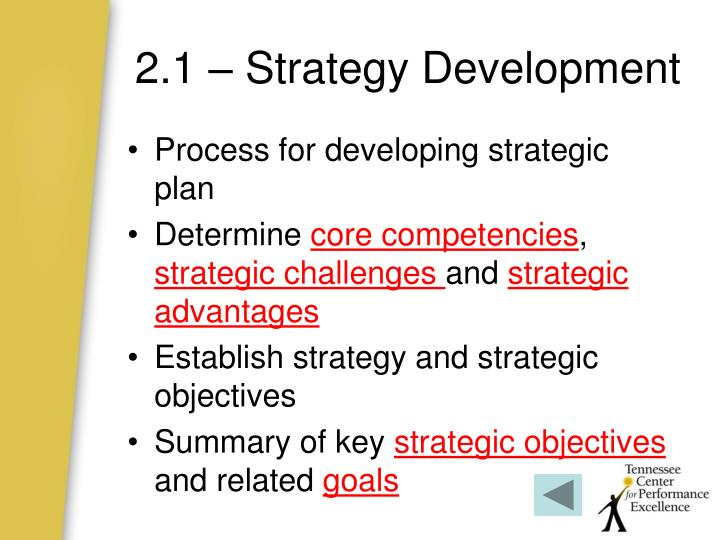 2.1 – Strategy Development